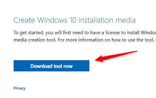 Click the blue Download Tool Now button.