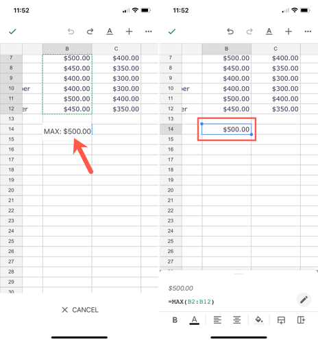 Drag the calculation to add a formula to the cell