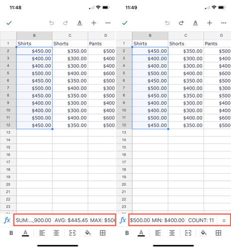 See calculations in Google Sheets on mobile