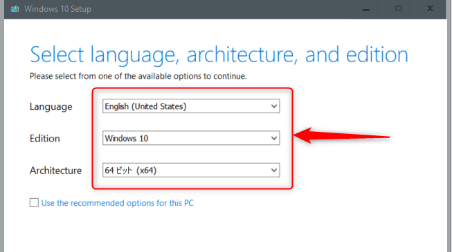 Select the language, edition, and architecture.