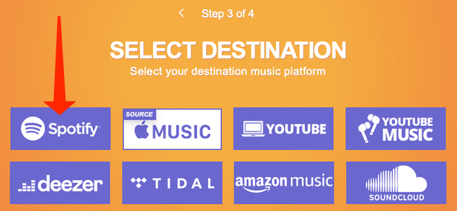 """On the Tune My Music website, click """"Spotify"""" to select it as the destination for your Apple Music playlists."""