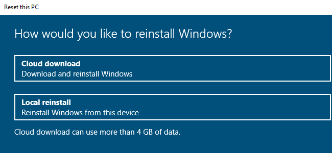 """Select """"Cloud Download"""" or """"Local Reinstall."""""""