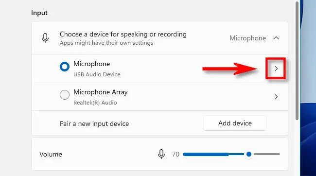 Click the arrow beside the microphone you want to test.