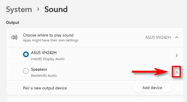 Click the caret arrow beside the sound device you want to configure.