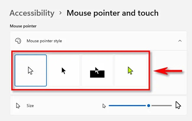 Choose a mouse pointer style.