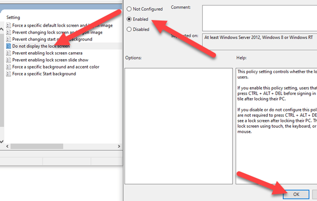 """Double-click """"Do Not Display the Lock Screen"""" and then select """"Enabled."""""""