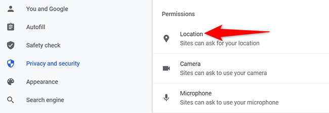 """Click """"Location"""" on the """"Site Settings"""" page in Chrome on desktop."""