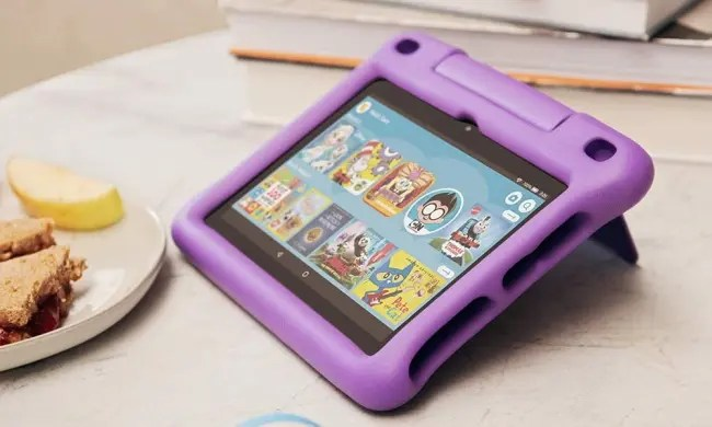 Fire HD 8 tablet on table