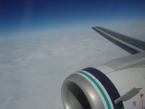The engine of my plane as I fly down to San Francisco