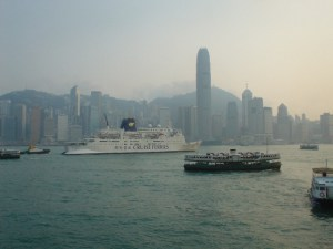 Boat traffic in Hong Kong Harbour
