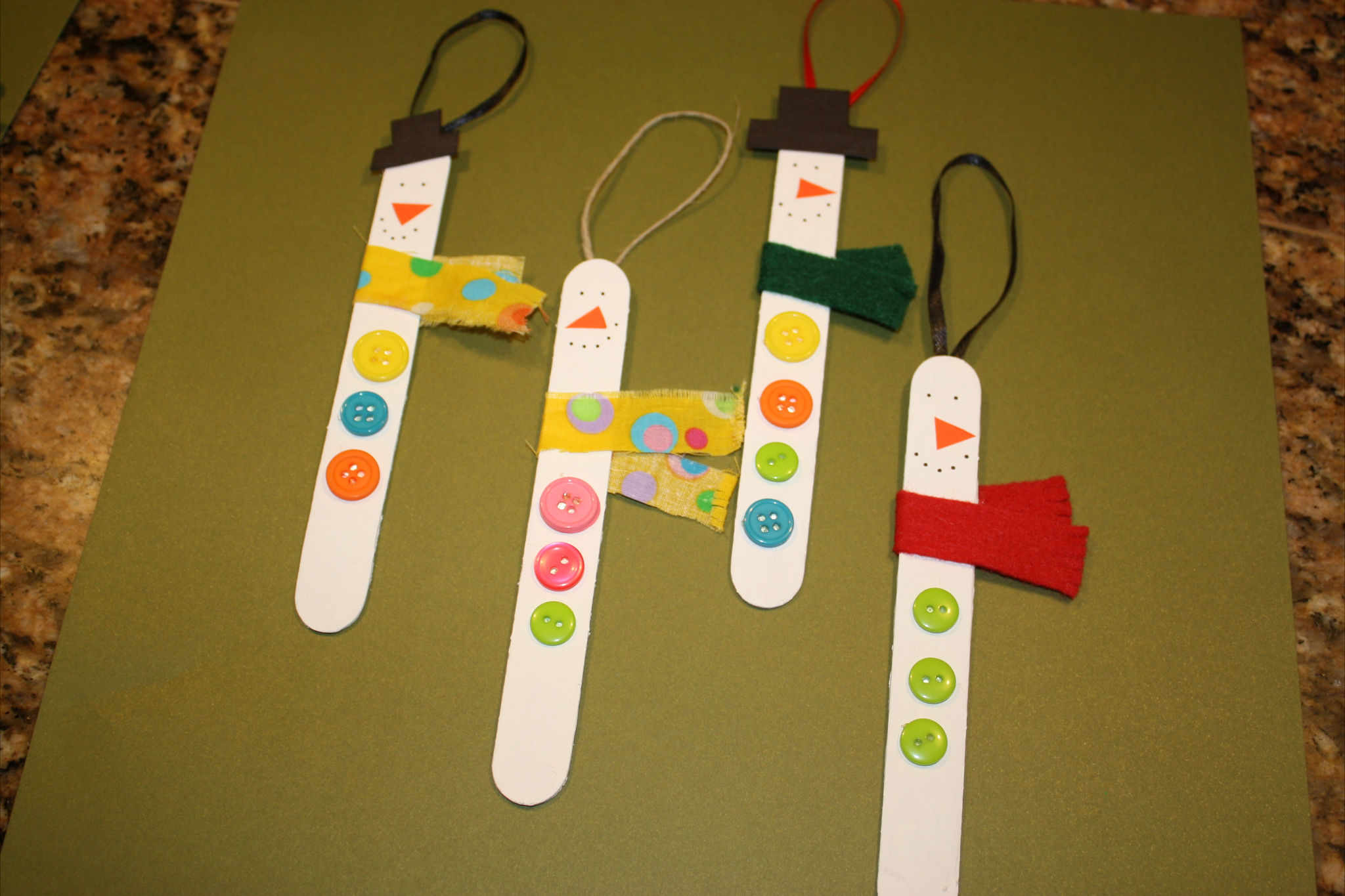 Easy Craft Popsicle Stick Snowman Ornaments