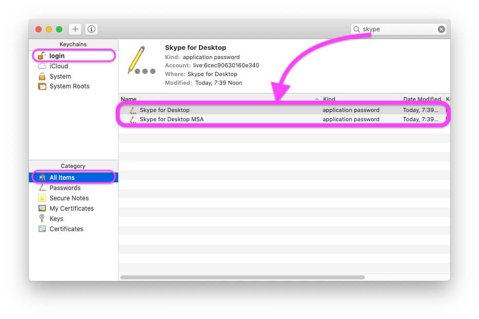 Удалить Skype из связки ключей доступа на MacBook Mac