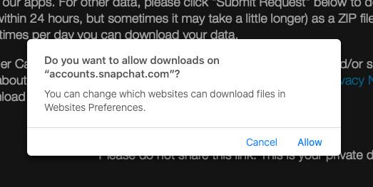 Загрузите данные в ваш браузер