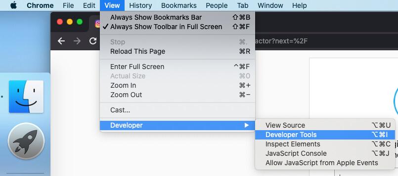 Откройте Инструменты разработчика в браузере Chrome на Macbook Mac