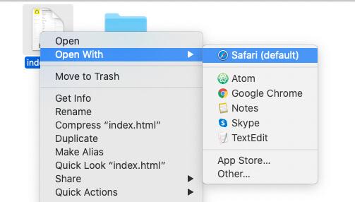 Откройте index.html на рабочем столе или в браузере Mac