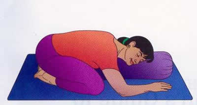 Supported Adho Mukha Virasana - toes together, knees apart.