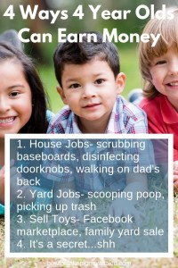 how 4 year olds can earn money, chores for 4 year olds