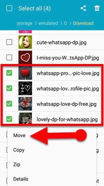 Move files to hidden folder