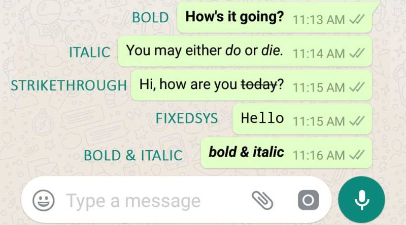 WhatsApp Font Style: (Bold, Italic, Strikethrough, FixedSys, Etc.)