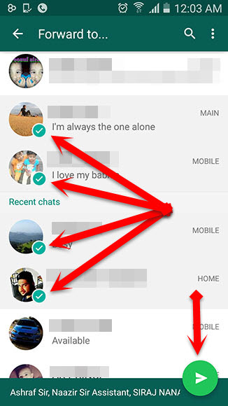 How to forward a WhatsApp message to multiple contacts (APK