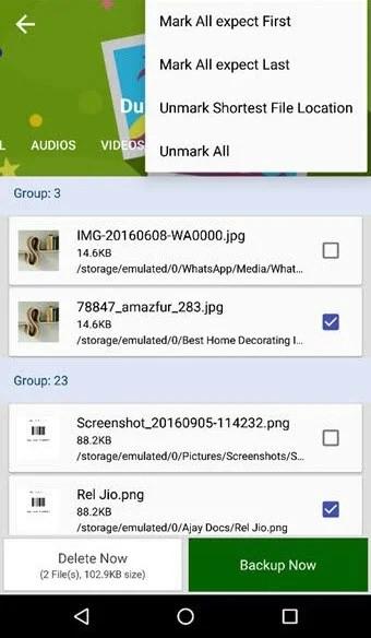 Duplicate Files Fixer Unmark Shortest File Location