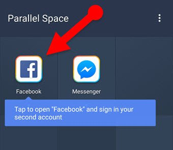 another Facebook account on Android