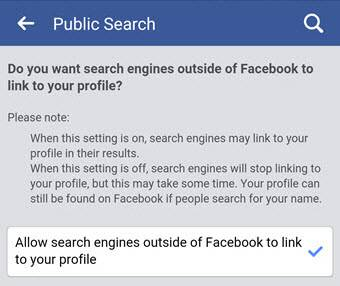 Allow search engines outside of Facebook to link to your profile on Mobile