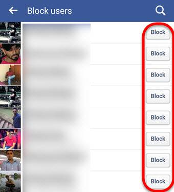 Block users on facebook via Mobile