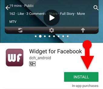 Download facebook feed widget for Android