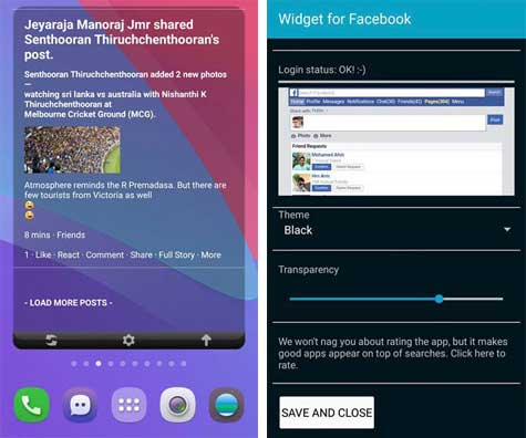 facebook widget android