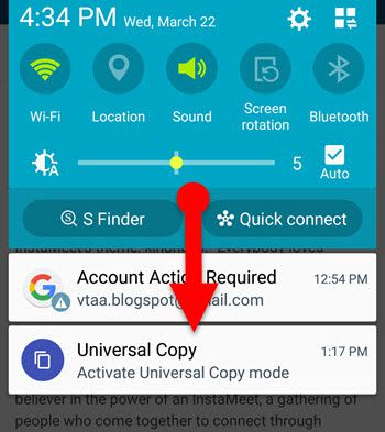 Universal Copy App on Android