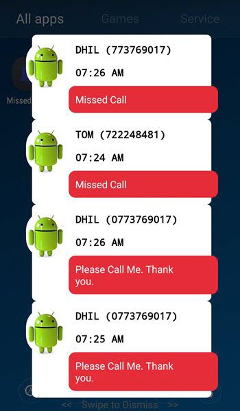 android missed call notification on lock screen