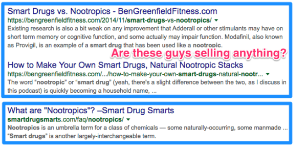nootropics search results in Google