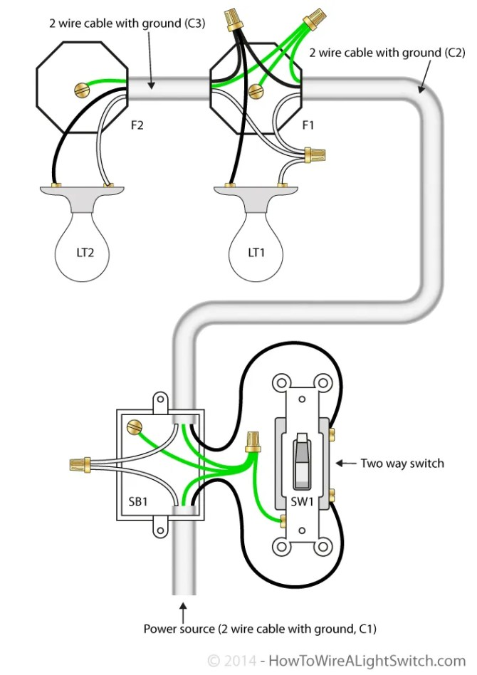 2 way light switch with power feed via switch multiple