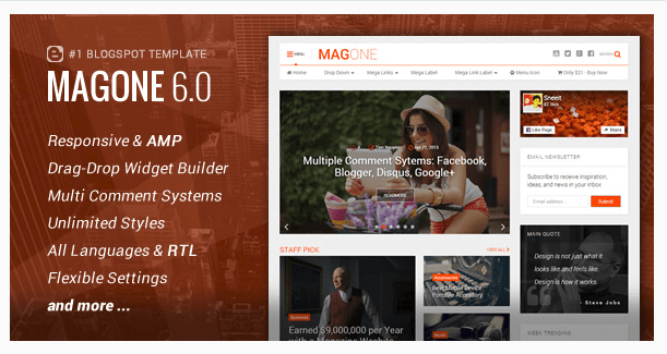Best Newspaper WordPress Themes -MagOne - Responsive News & Magazine Blogger Template