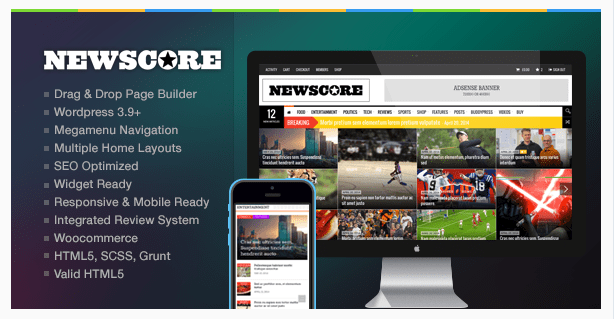 Best Newspaper WordPress Themes -NewsCore - A Blog, Magazine and News Theme for WP