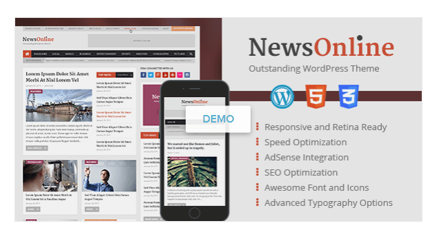 Best Newspaper WordPress Themes -NewsOnline Retina Magazine and Blog WordPress Theme