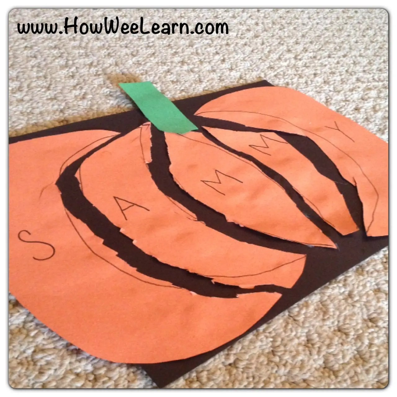 Halloween Preschool Crafts Pumpkin Name Puzzles