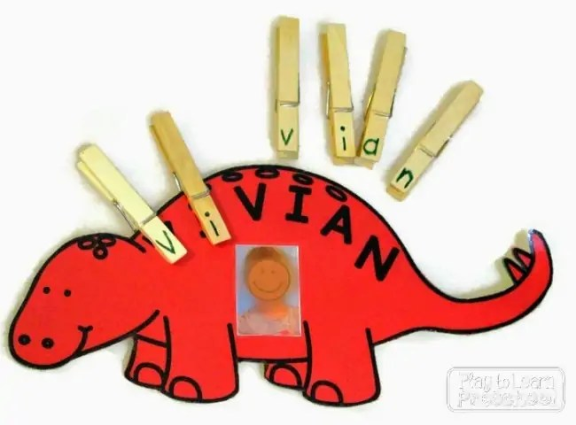 45 Awesome Name Activities for Preschoolers    How Wee Learn Preschool name games   dino names