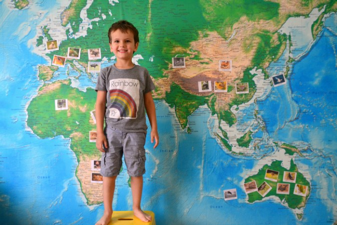 World Wall Map Inspiration   how we montessori Otis doing Animals of the World Word on Wall World Map at How we Montessori  March
