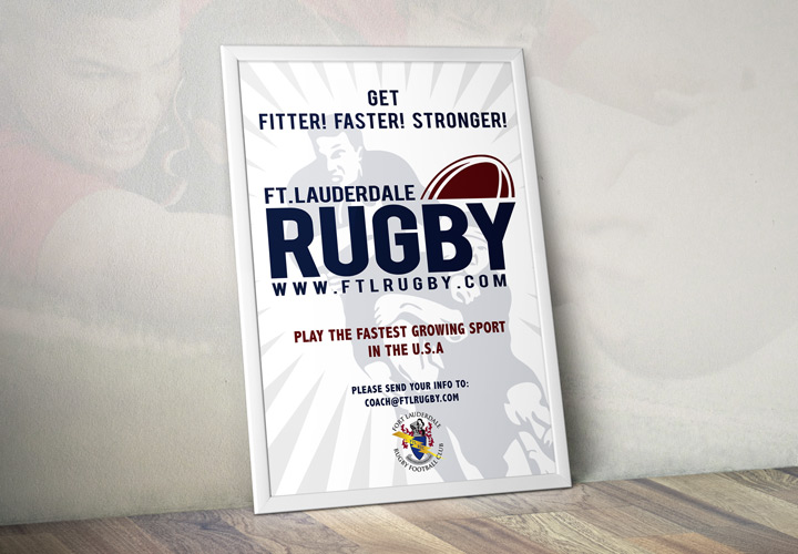 Fort Lauderdale Rugby Club play rugby poster branding