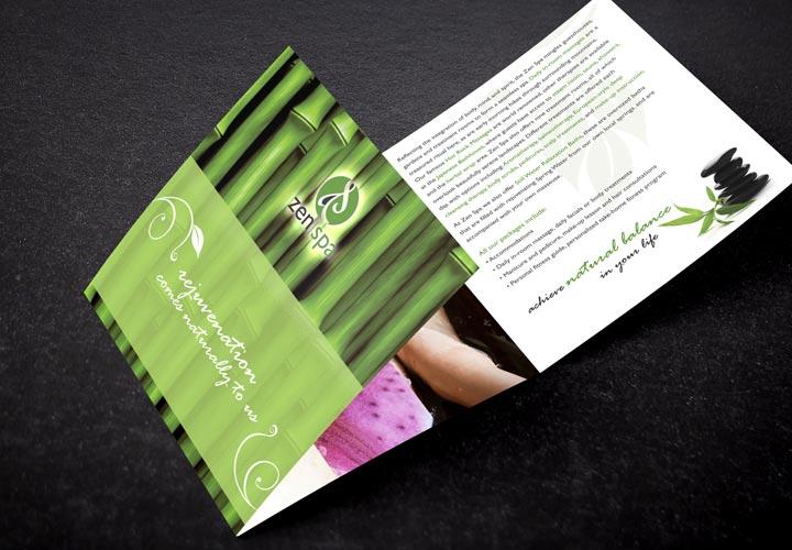 Zen Spa trifold brochure branding