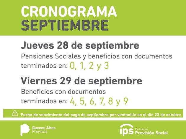 El 28 y 29 de septiembre será el pago de haberes para jubilados del IPS