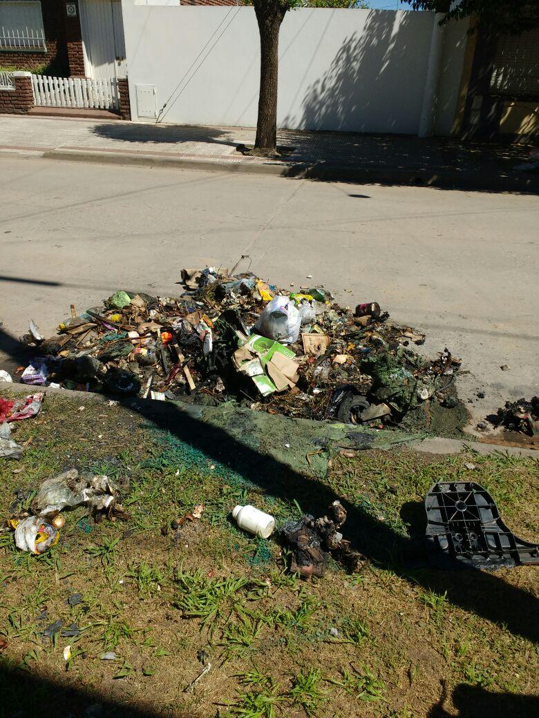 Contenedor incendiado y basura desparramada pone en alerta a la Comuna