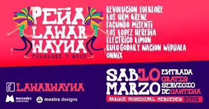 Peña Lawar Wayna este sábado en el Parque Municipal