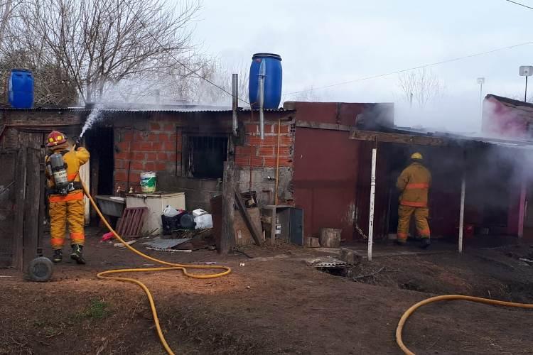 Incendio en una casa de calle 32 y 55