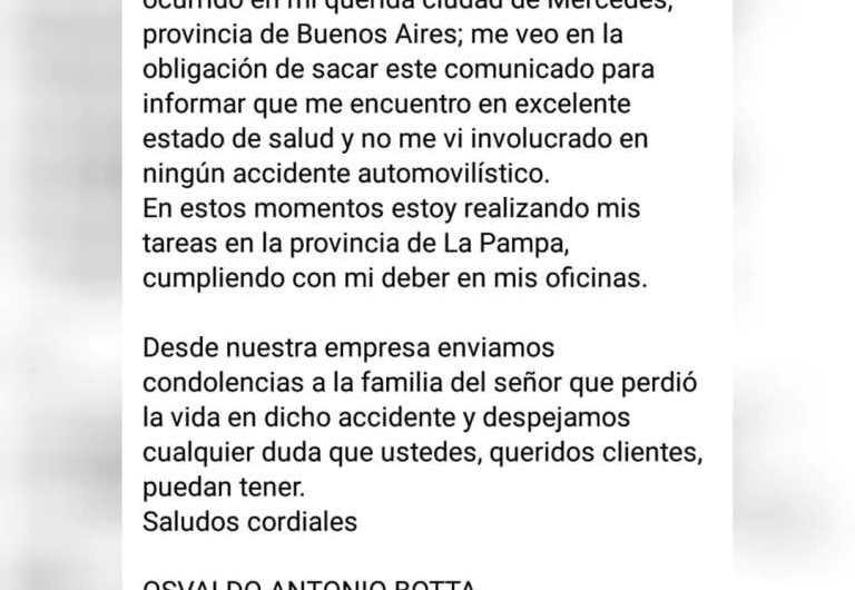 Ante rumores circulante: Osvaldo Antonio Botta aclara que él no es la víctima del siniestro vial