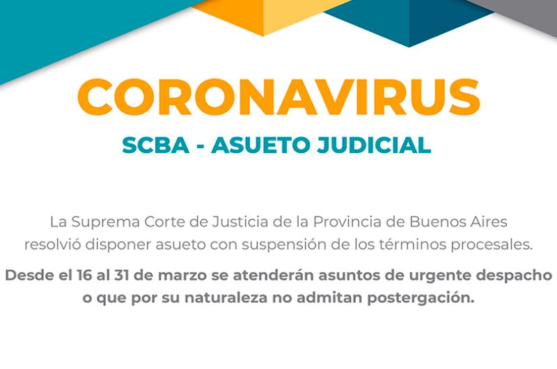 Coronavirus: Confirmaron asueto judicial en la provincia hasta el 31 de marzo