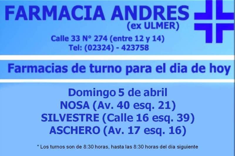 Farmacias de turno día domingo 5 de abril