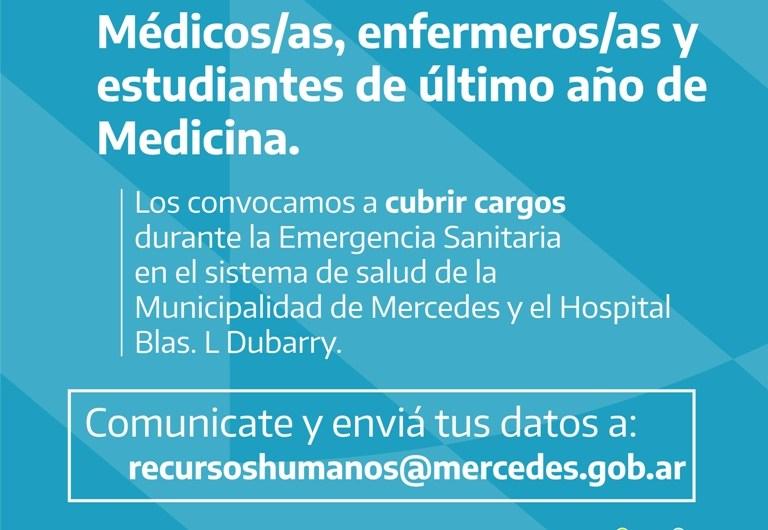 Convocan a profesionales y estudiantes avanzados de medicina y enfermería